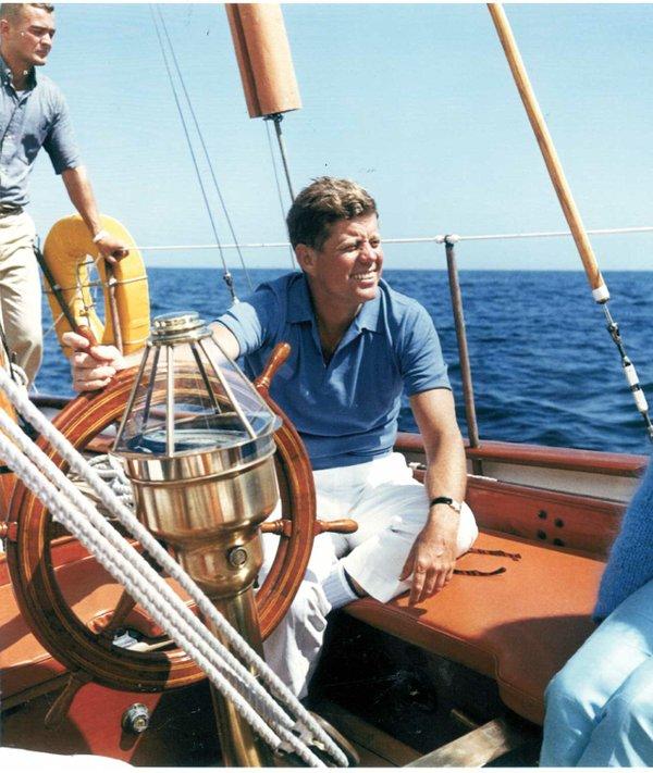 John F. Kennedy aboard his beloved Manitou.