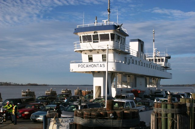 Fer 17 Pocahontas  vdot--Built in 1995 with a 70-car capacity, ΓÇ£PocahontasΓÇ¥ is the newest ship in the  Jamestown-Scotland fleet. Courtesy Virginia Department of Transportation.JPG