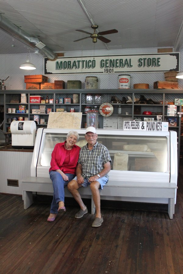 IMG_9047Mary Byrd Martin and Georges Shelton sit in the General Store at the Morattico Waterfront Museum. Photo by Dianne Saison.JPG
